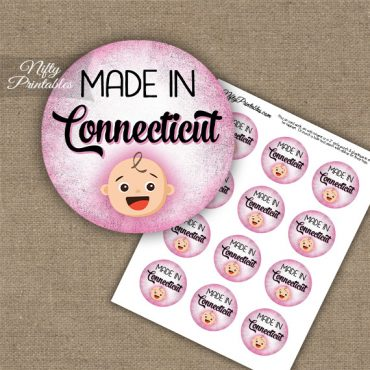 Connecticut White Baby - Pink Cupcake Toppers