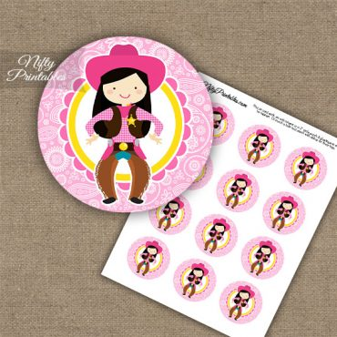 Cowgirl Black Hair Cupcake Toppers