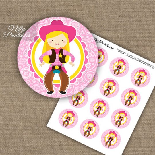 Cowgirl Blonde Hair Cupcake Toppers
