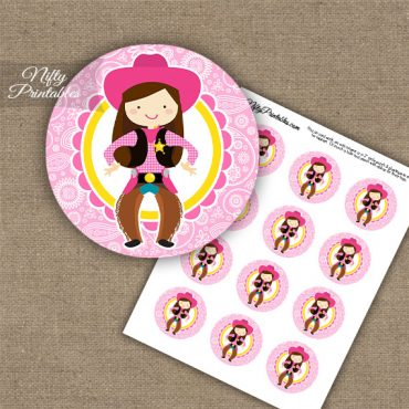 Cowgirl Brown Hair Cupcake Toppers