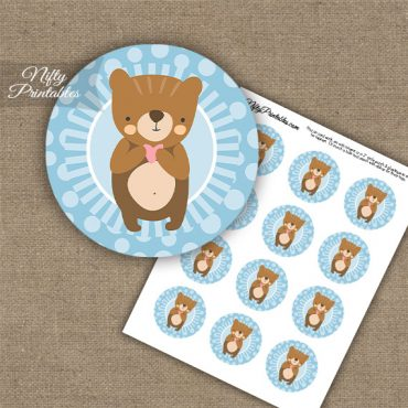 Cute Bear Blue Dots Cupcake Toppers