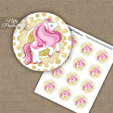 Cute Unicorn Pink Gold Cupcake Toppers
