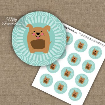 Funny Dog Brown Turquoise Cupcake Toppers