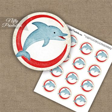 Dolphin Jumping Cupcake Toppers - Off-White Red