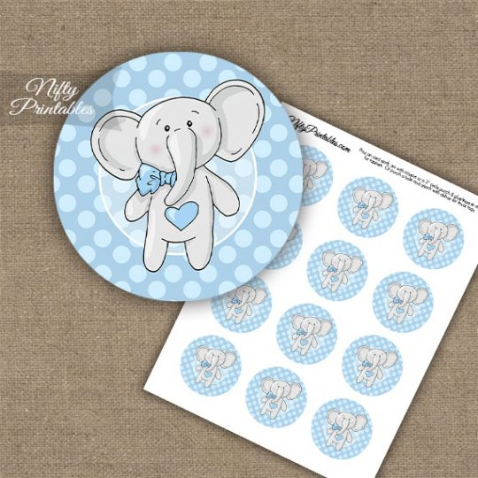 Elephant Blue Cupcake Toppers