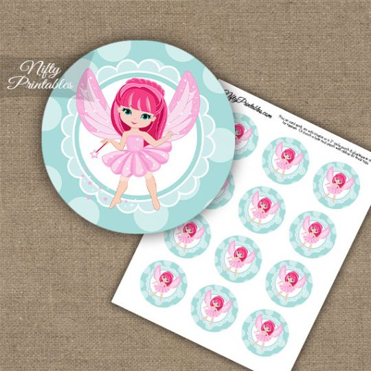 Fairy Pink Hair Cupcake Toppers