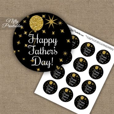 Father's Day Cupcake Toppers - Balloons Black