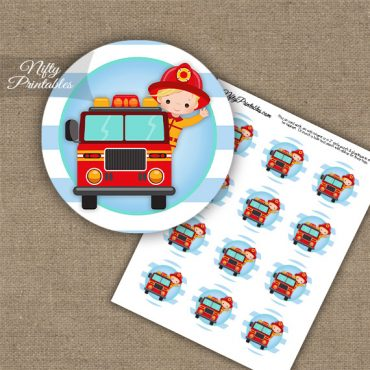 Firefighter Boy Blonde Hair Cupcake Toppers