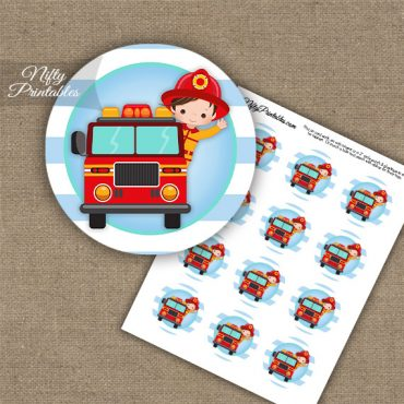Firefighter Boy Brown Hair Cupcake Toppers