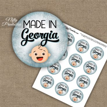 Georgia White Baby - Blue Cupcake Toppers