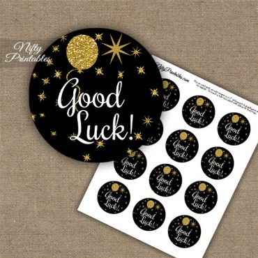Good Luck Cupcake Toppers - Balloons Black