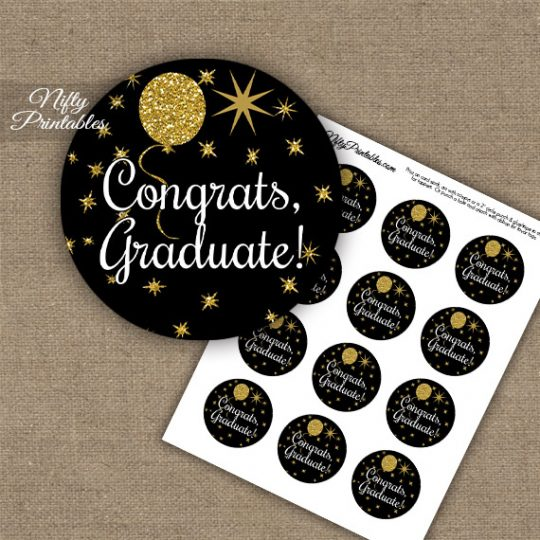 Graduation Cupcake Toppers - Balloons Black
