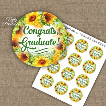 Graduation Cupcake Toppers - Sunflowers