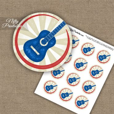 Acoustic Guitar Cupcake Toppers - Inky Blue