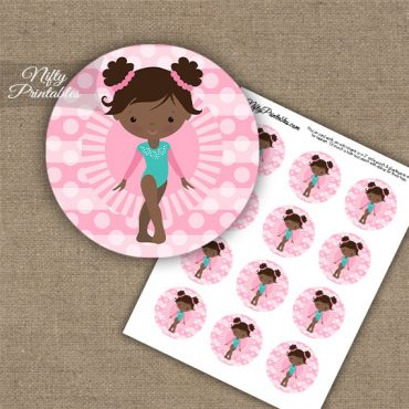 Gymnast African American Cupcake Toppers