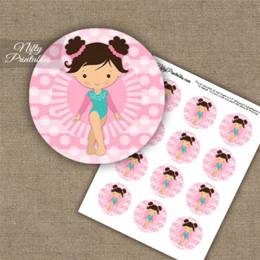 Gymnast Brown Hair Cupcake Toppers