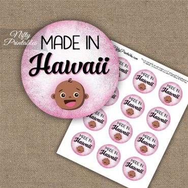 Hawaii Black Baby - Pink Cupcake Toppers