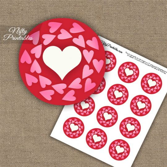 Whimsical Hearts Wreath Cupcake Toppers - Pink & Red