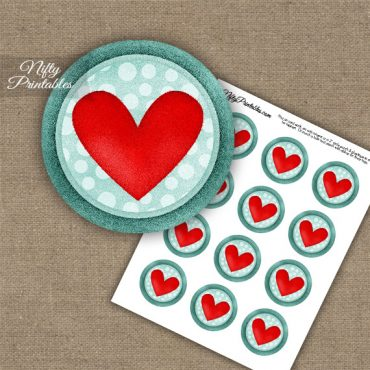 Heart On Aqua Cupcake Toppers