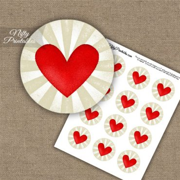 Natural Heart Cupcake Toppers