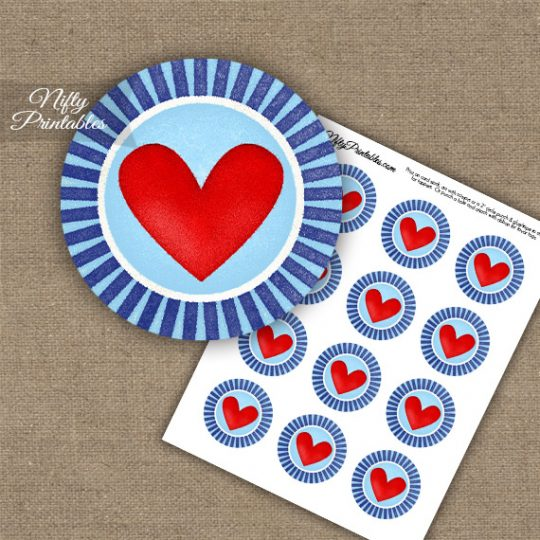 Cute Chunky Heart Cupcake Toppers - Navy & Light Blue