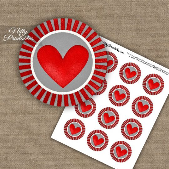Cute Chunky Heart Cupcake Toppers - Gray & Red