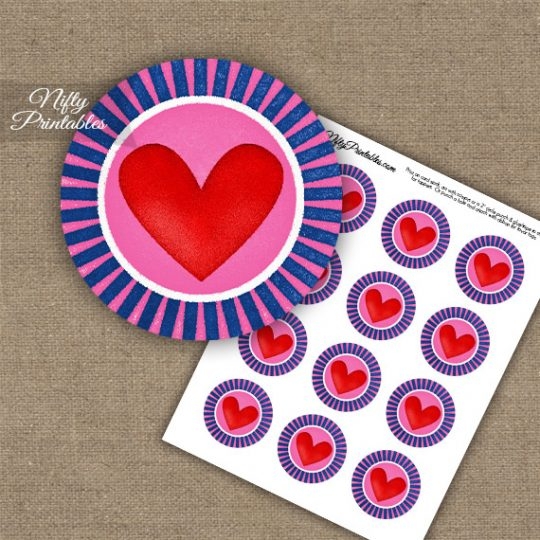 Cute Chunky Heart Cupcake Toppers - Pink & Blue