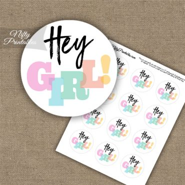 Hey Girl Baby Shower Cupcake Toppers - Modern