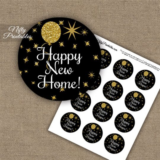 Housewarming Cupcake Toppers - Balloons Black