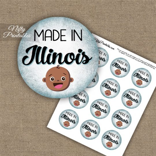 Illinois Black Baby - Blue Cupcake Toppers