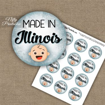 Illinois White Baby - Blue Cupcake Toppers