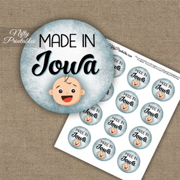 Iowa White Baby - Blue Cupcake Toppers