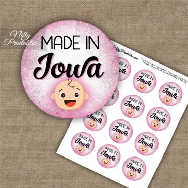 Iowa White Baby - Pink Cupcake Toppers