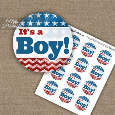 It's A Boy - Baby Shower Toppers - American Flag
