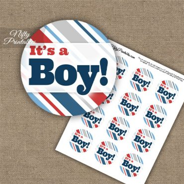 It's A Boy - Baby Shower Toppers - Red Blue Stripe