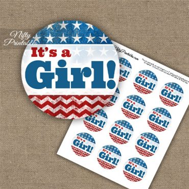 It's A Girl - Baby Shower Toppers - American Flag