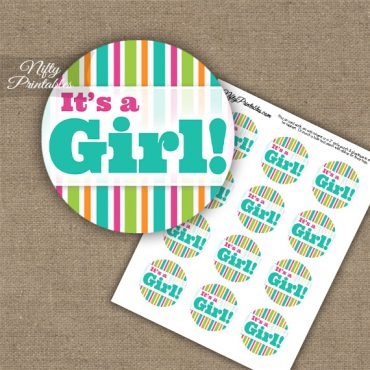It's A Girl - Baby Shower Toppers - Tropical Stripe