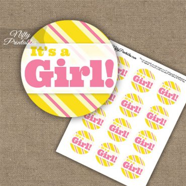 It's A Girl - Baby Shower Toppers - Yellow Pink Stripe