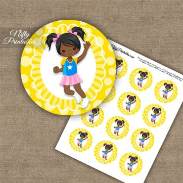 Jumping Girl African American Cupcake Toppers