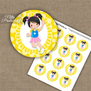 Jumping Girl Black Hair Cupcake Toppers
