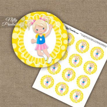Jumping Girl Blonde Hair Cupcake Toppers