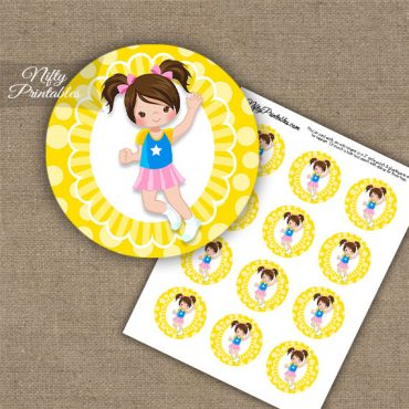 Jumping Girl Brown Hair Cupcake Toppers