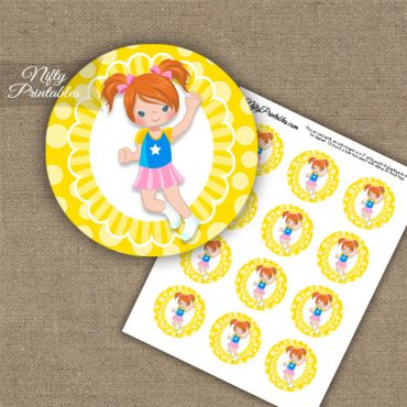 Jumping Girl Red Hair Cupcake Toppers