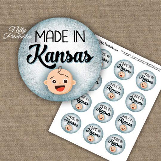 Kansas White Baby - Blue Cupcake Toppers