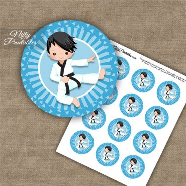 Karate Boy Blue Black Hair Cupcake Toppers