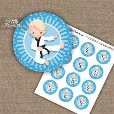 Karate Boy Blue Blonde Hair Cupcake Toppers