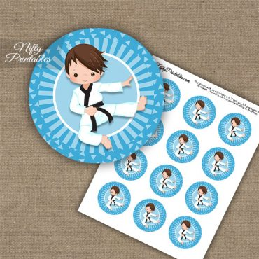 Karate Boy Blue Brown Hair Cupcake Toppers