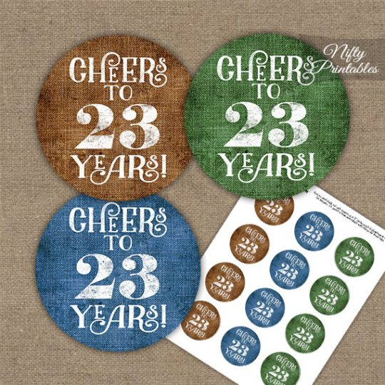 23rd Birthday Cupcake Toppers - Linen Cheers To Years
