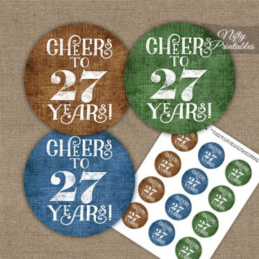 27th Birthday Cupcake Toppers - Linen Cheers To Years