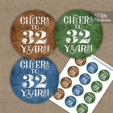 32nd Birthday Cupcake Toppers - Linen Cheers To Years